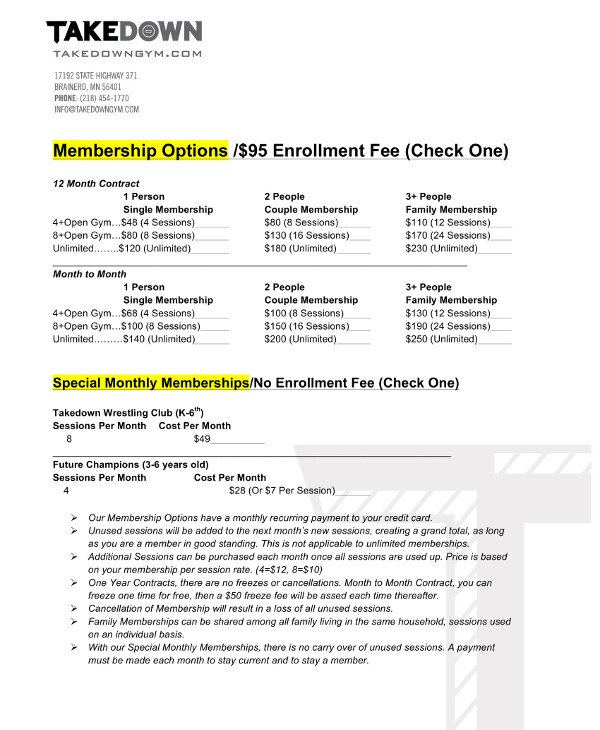 Gym Membership Form And Contract Example