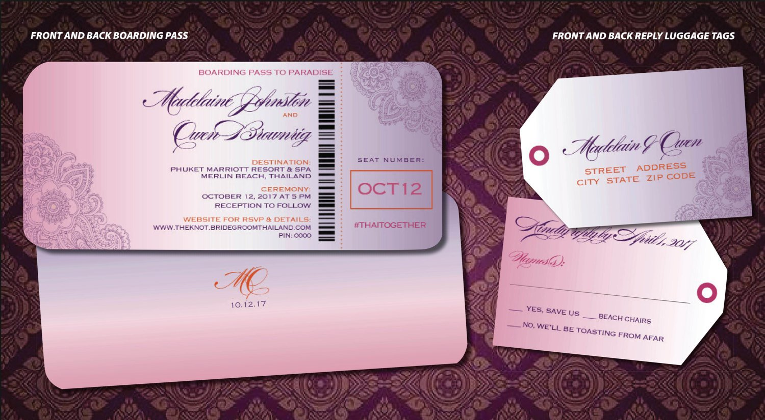 henna wedding ceremony boarding pass ticket example
