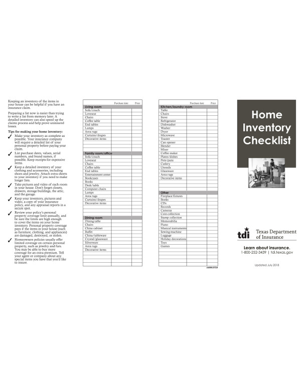 home inventory checklist example1