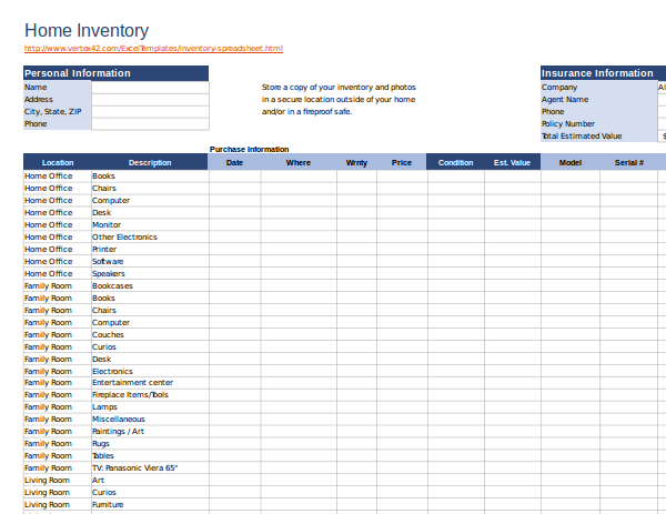 home inventory excel spreadsheet