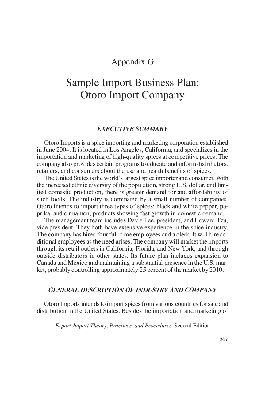 9  import  export business plan examples