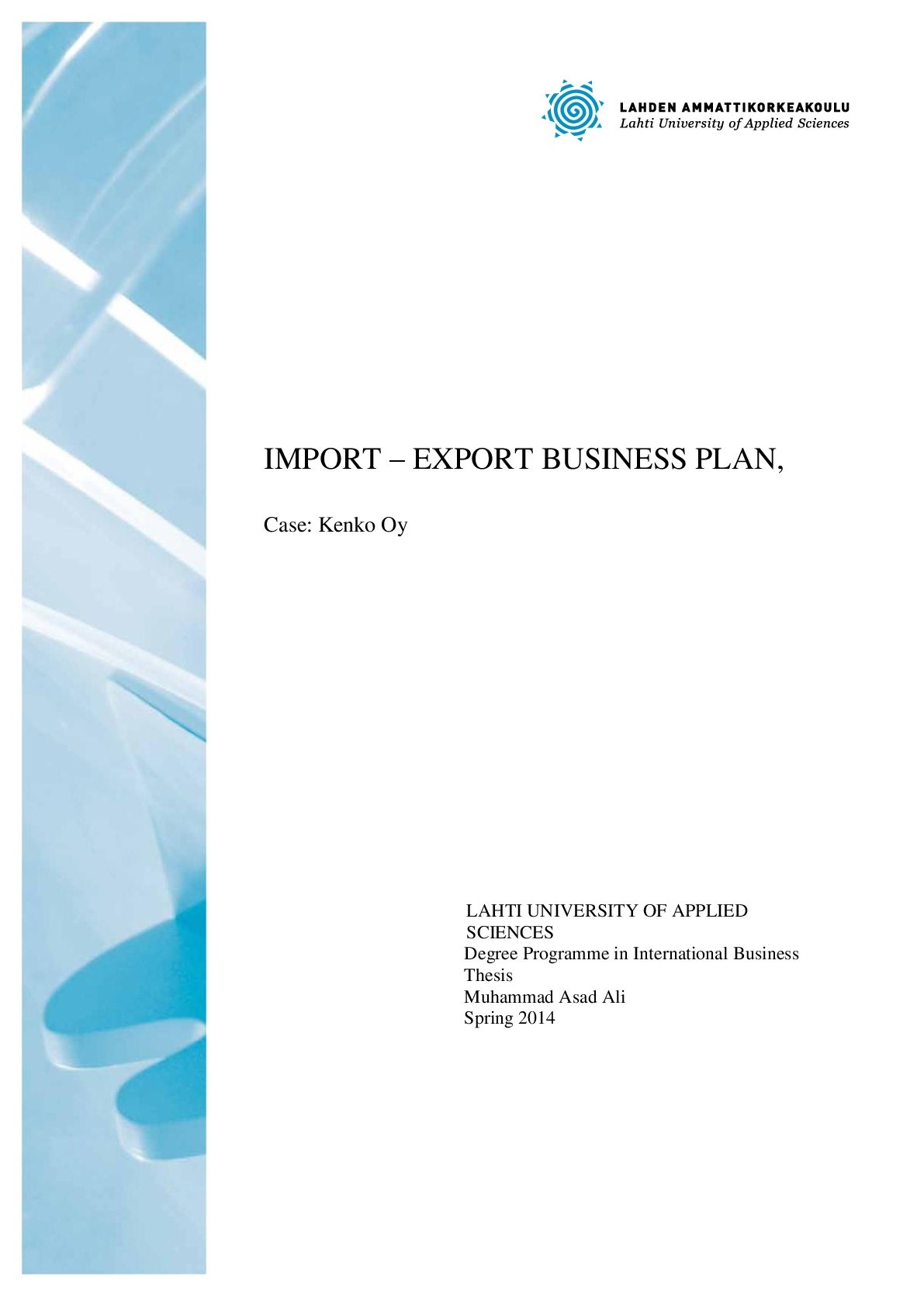import export business plan thesis 001