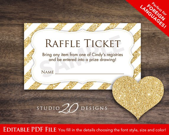 instant download golden raffle ticket template example