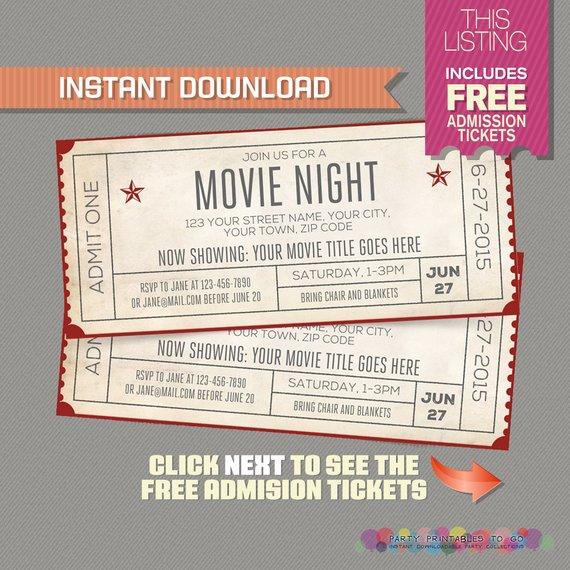 instant download movie ticket invitation example