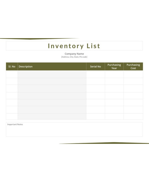 inventory list template