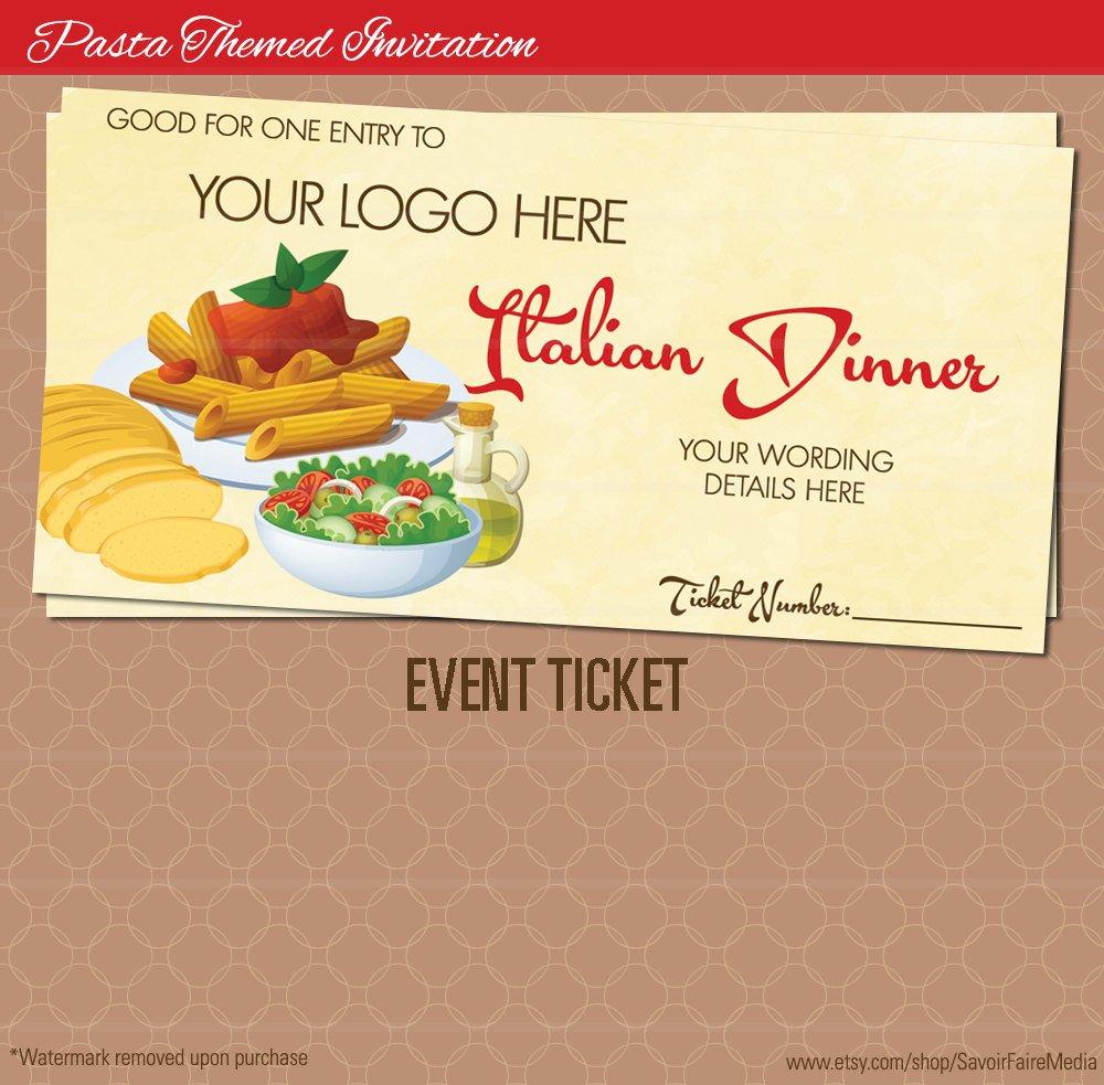italian dinner event ticket example