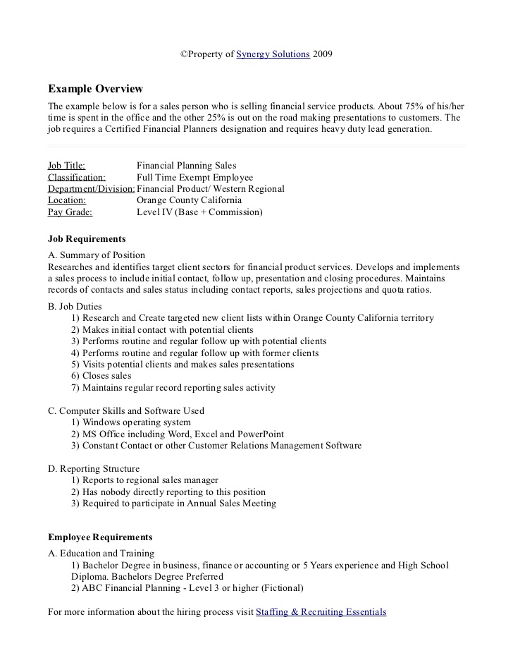 job analysis document example