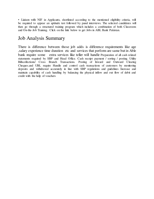 job analysis document summary