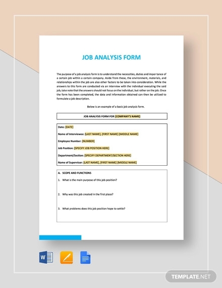 job analysis form template
