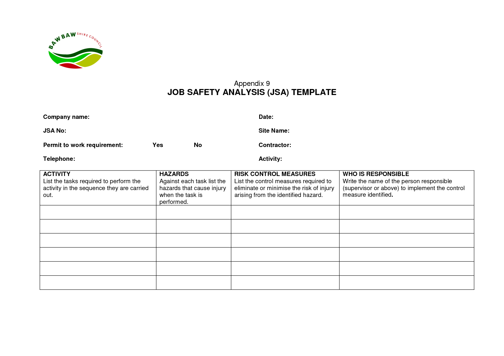 Worksheets Job Hazard Analysis Worksheet 12 job safety analysis examples pdf word pages template