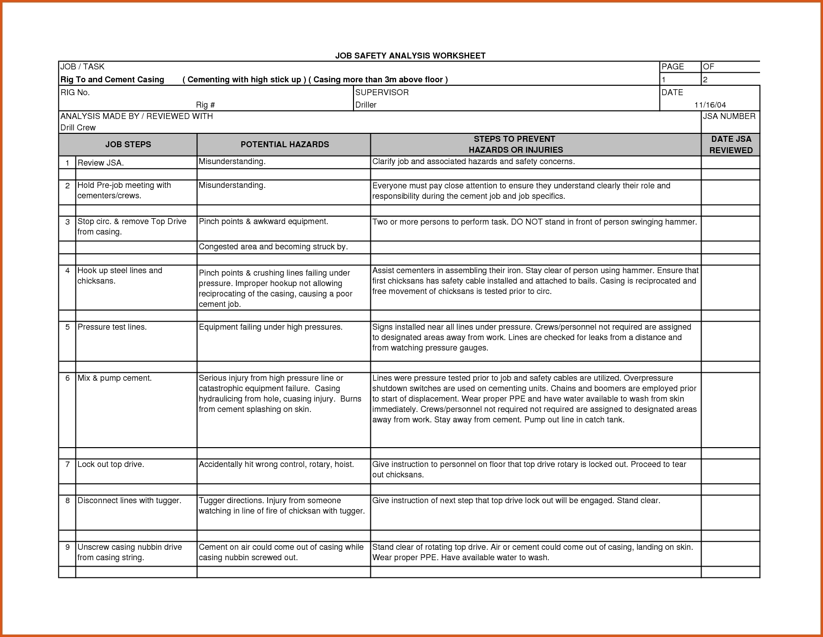 job safety analysis worksheet document example