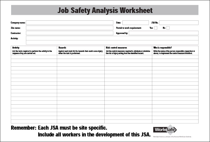 job safety analysis worksheet template