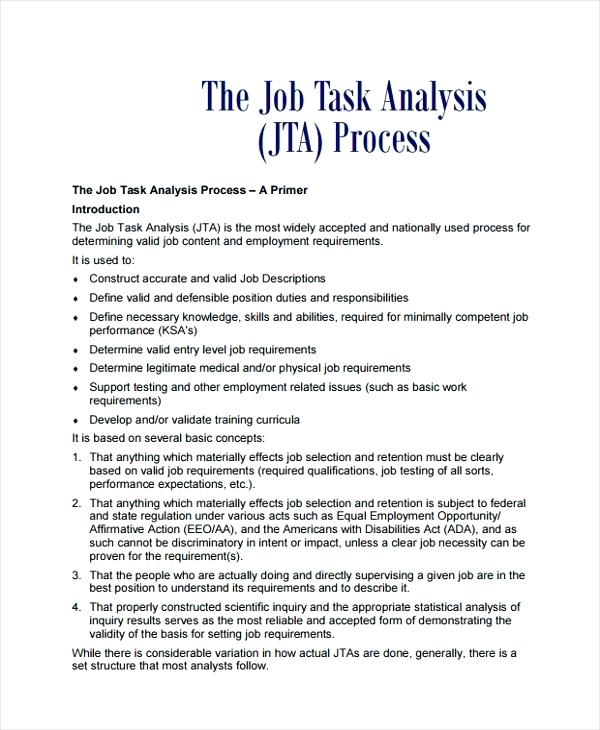 job task analysis example