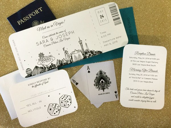 las vegas skyline wedding boarding pass ticket example