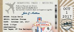 las vegas wedding boarding pass ticket