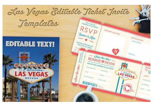 las vegas wedding invitation ticket example1
