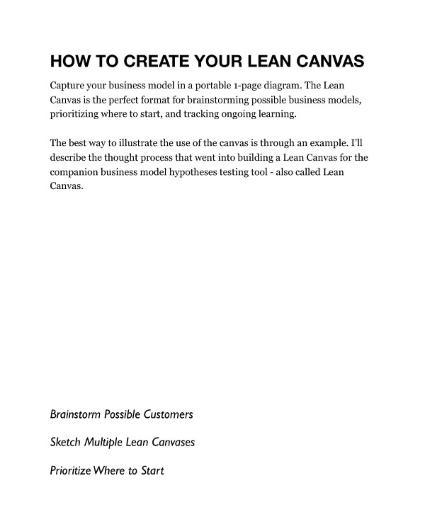 lean canvas business model for a business plan example