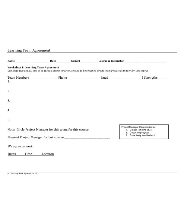 learning team agreement
