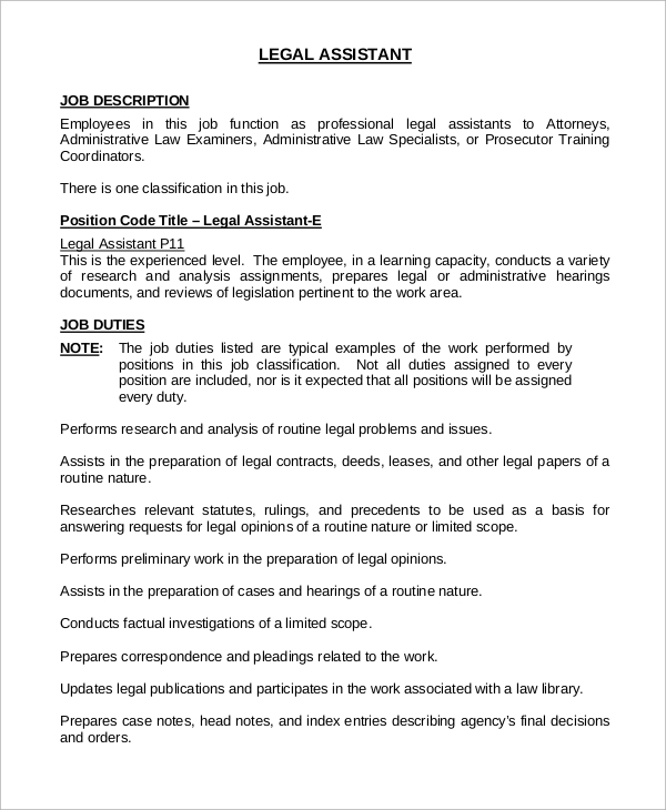 legal assistant job analysis example