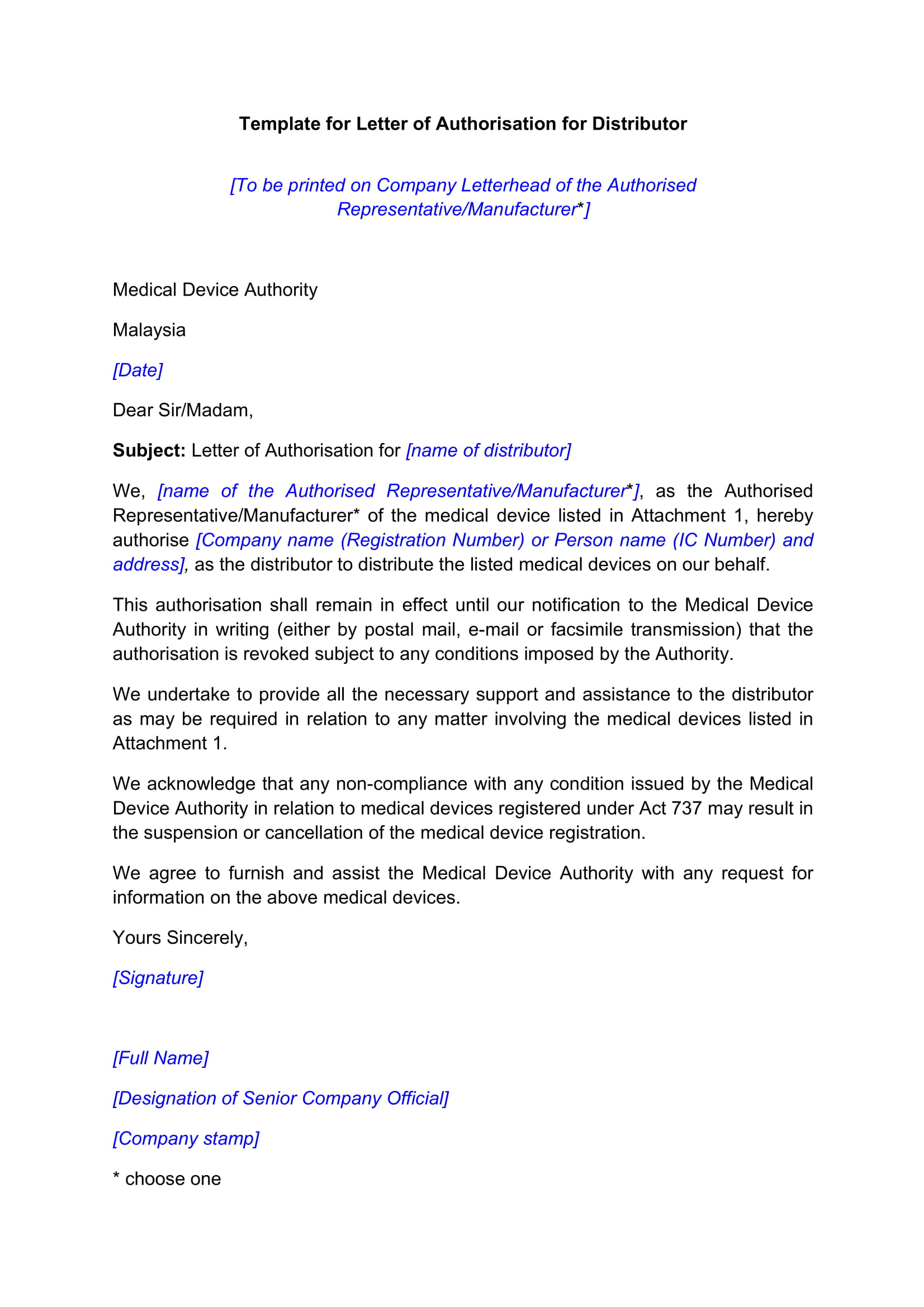letter of authorisation distributor