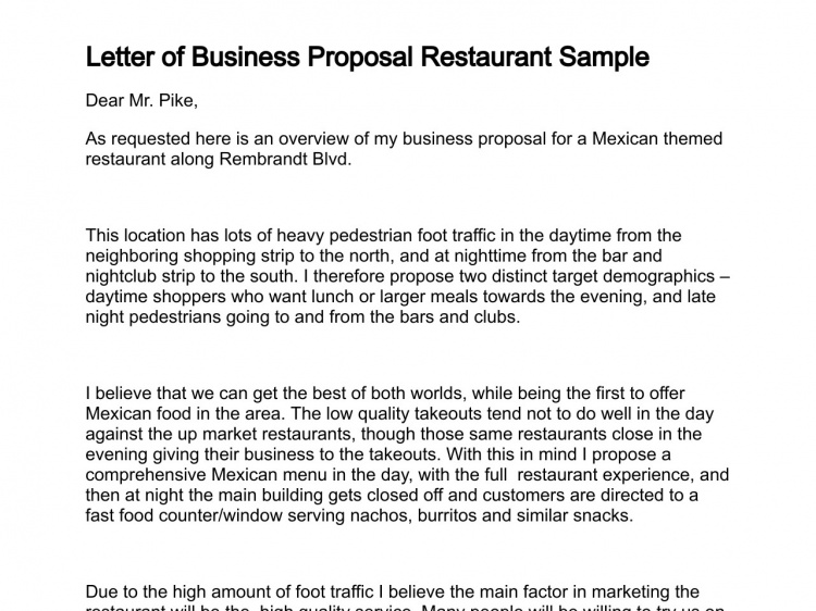 letter of business project proposal for a restaurant sample