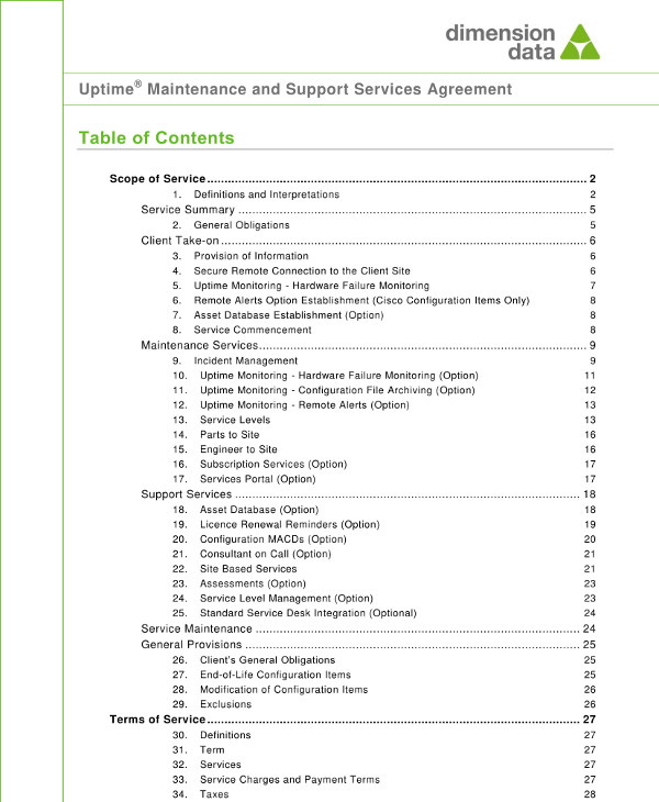 maintenance and managed or support services agreement template example