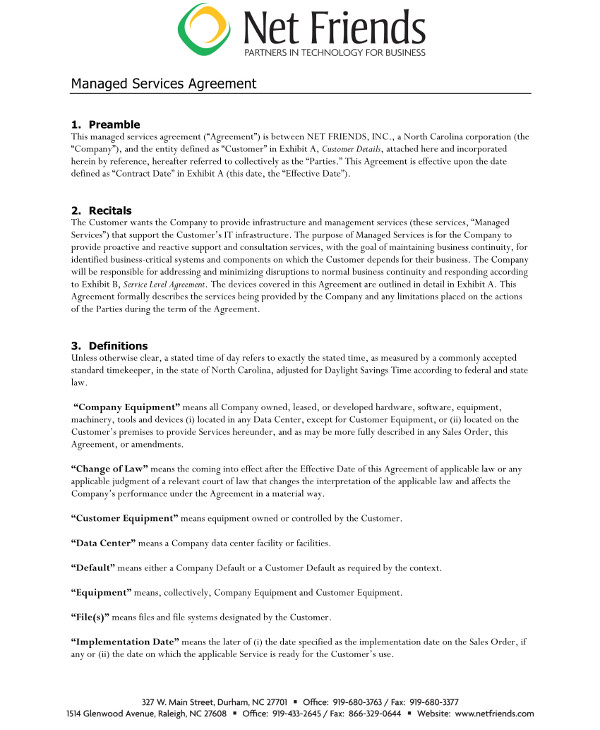 managed services agreement contract discussion flow and format example