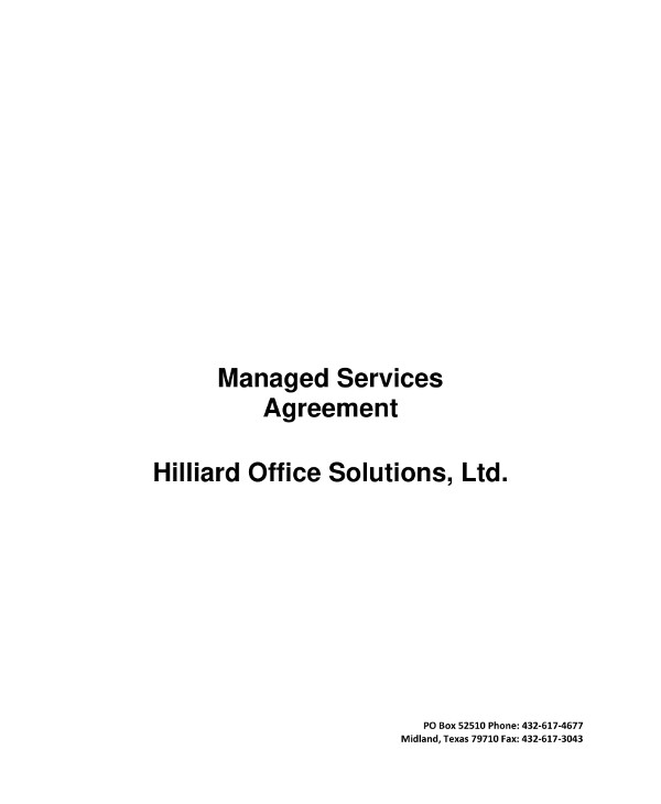 managed services agreement contract template example