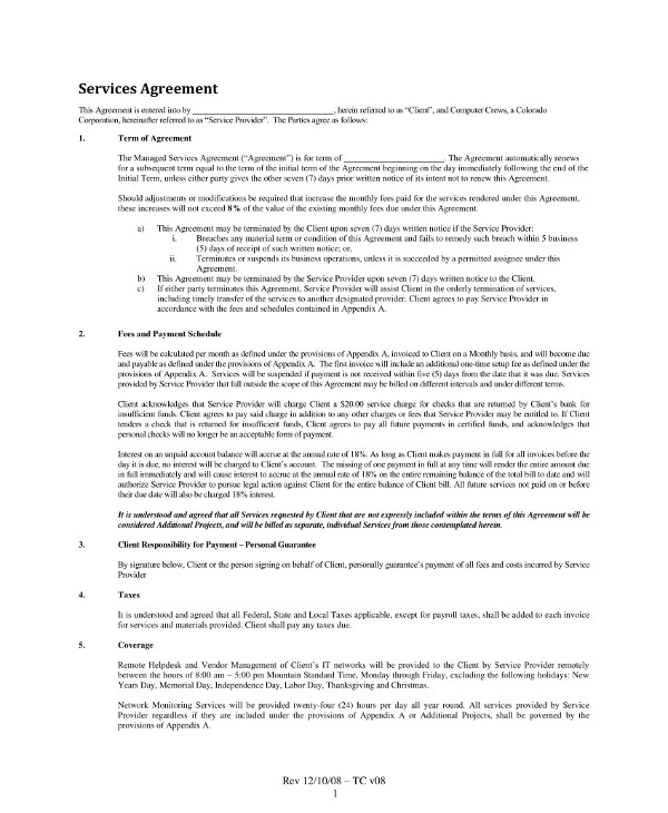 managed services contract template example