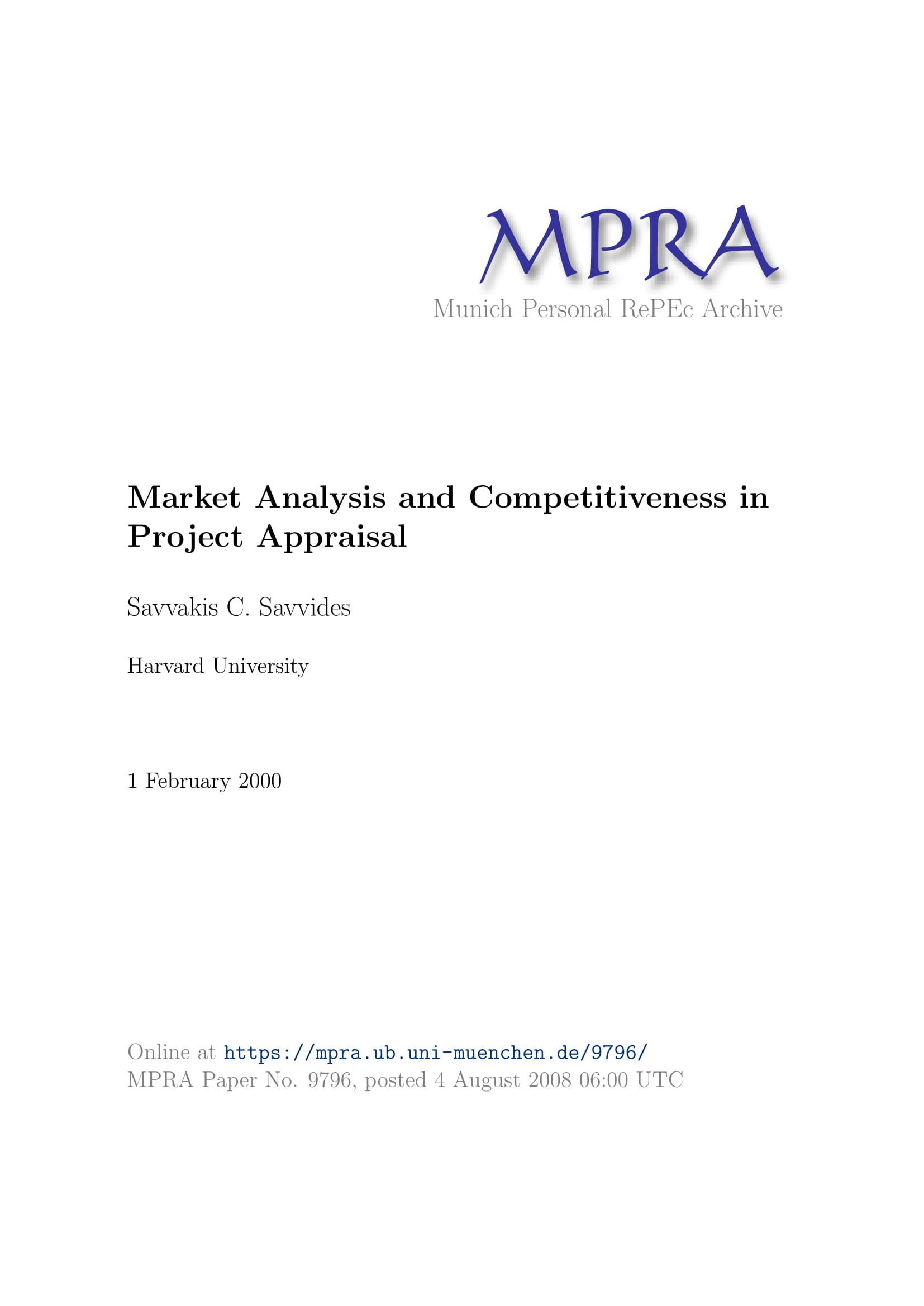 market gap analysis and competitiveness in project appraisal example 01