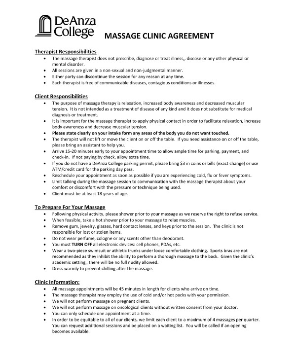 9 Massage Therapy Contract Examples Pdf