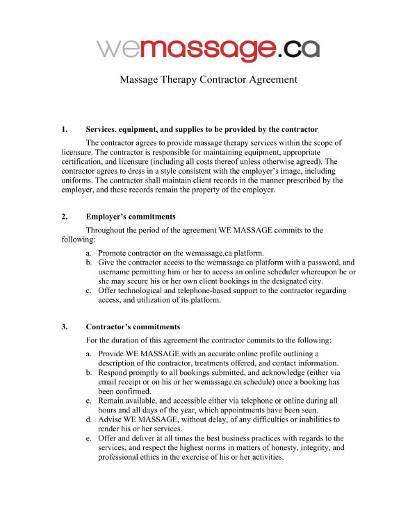 10  Massage Therapy Contract Examples