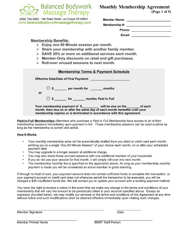 Massage Therapy Monthly Membership Contract Template Example