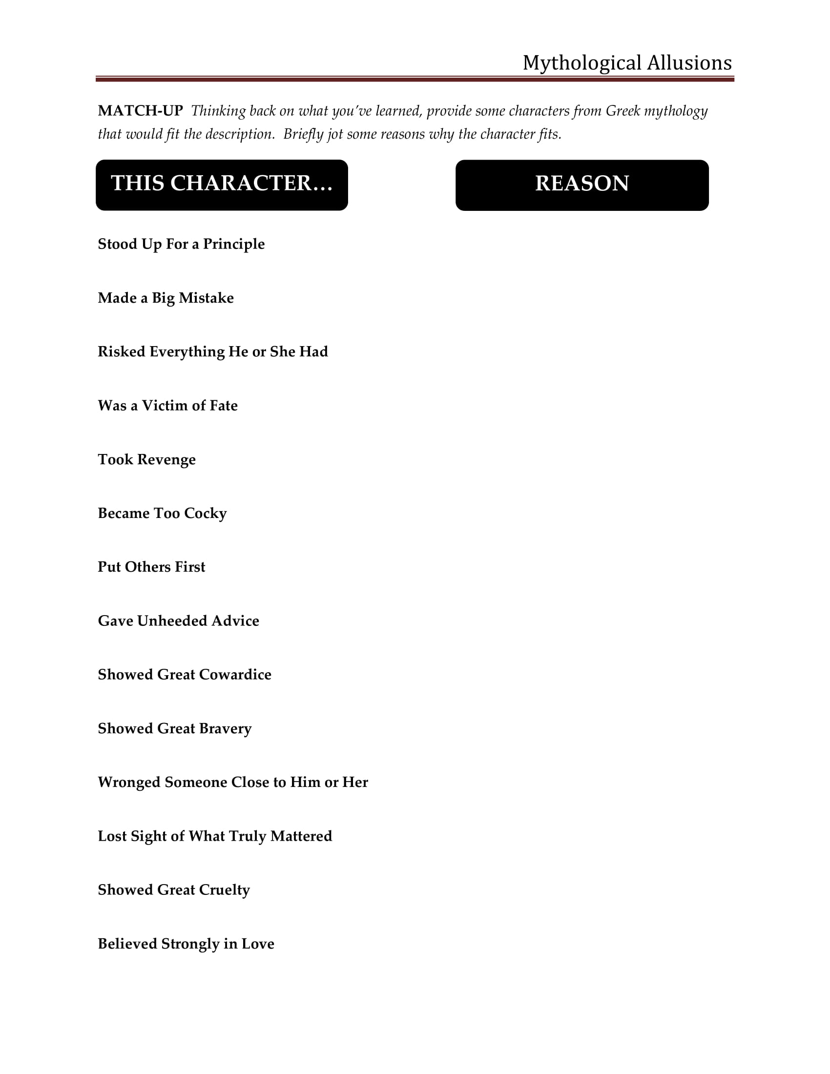 matching up allusions worksheet example