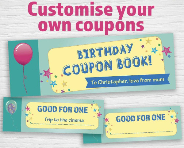 minimalist birthday coupon example
