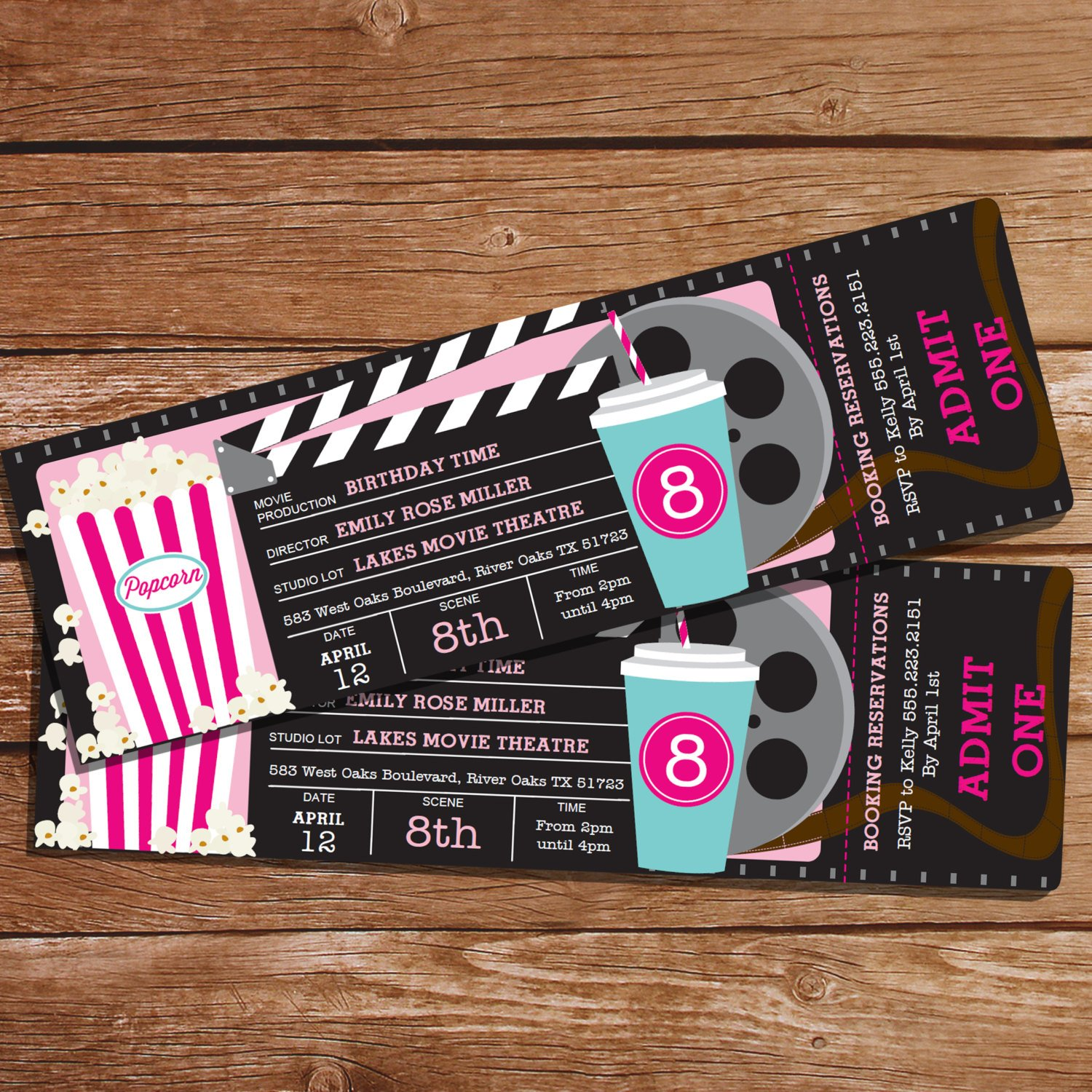 movie party invitation ticket example