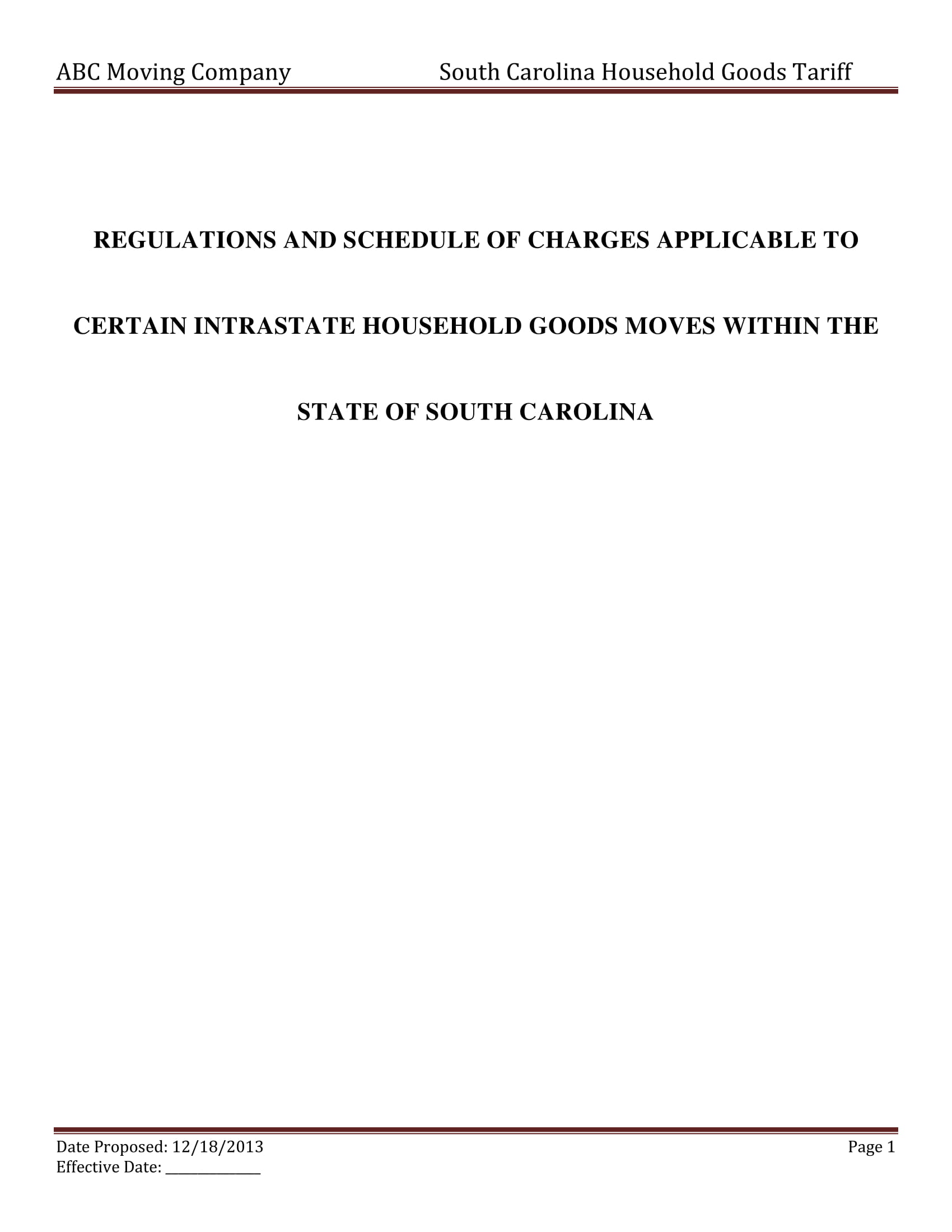 moving company contract regulations and schedule discussion template example 1