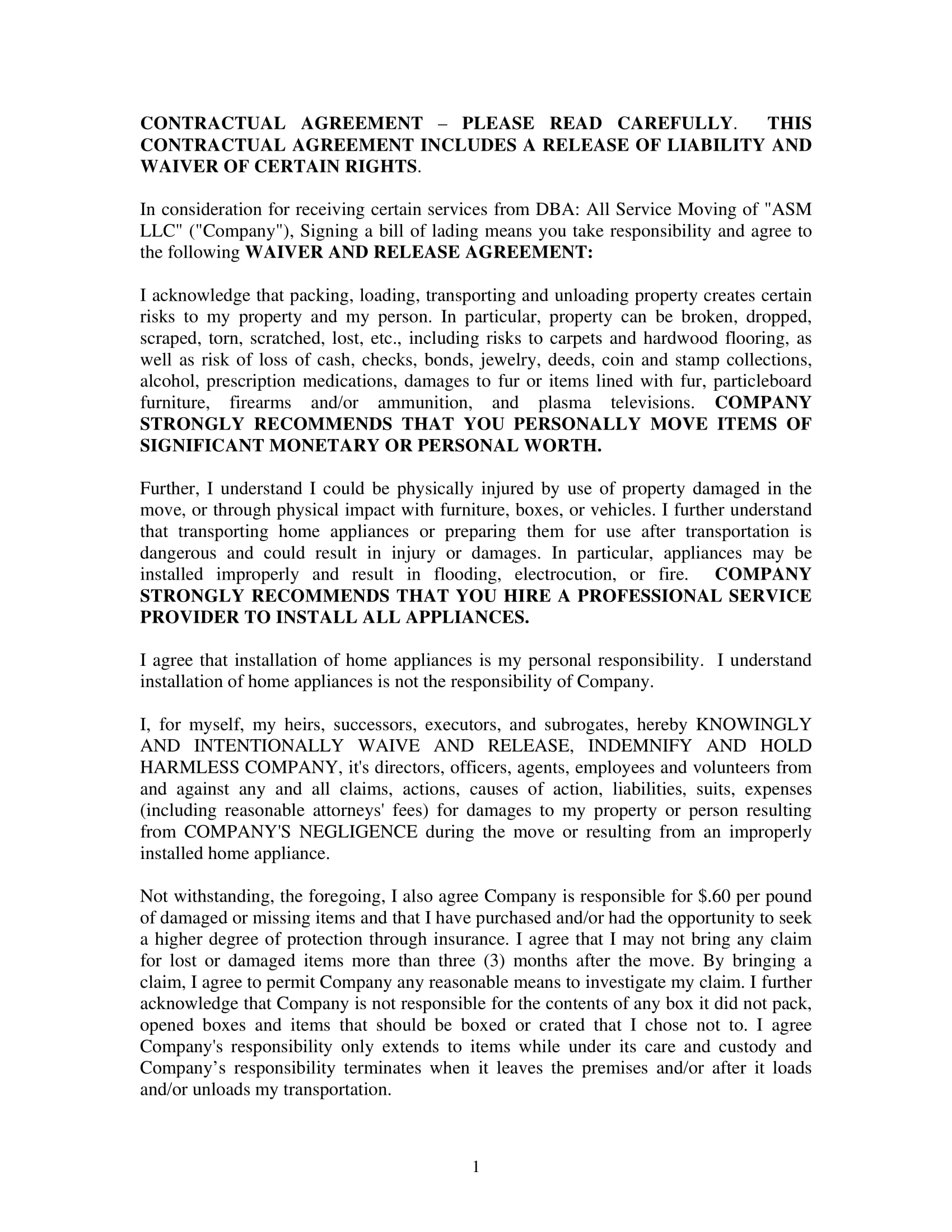moving company contractual agreement template example 1