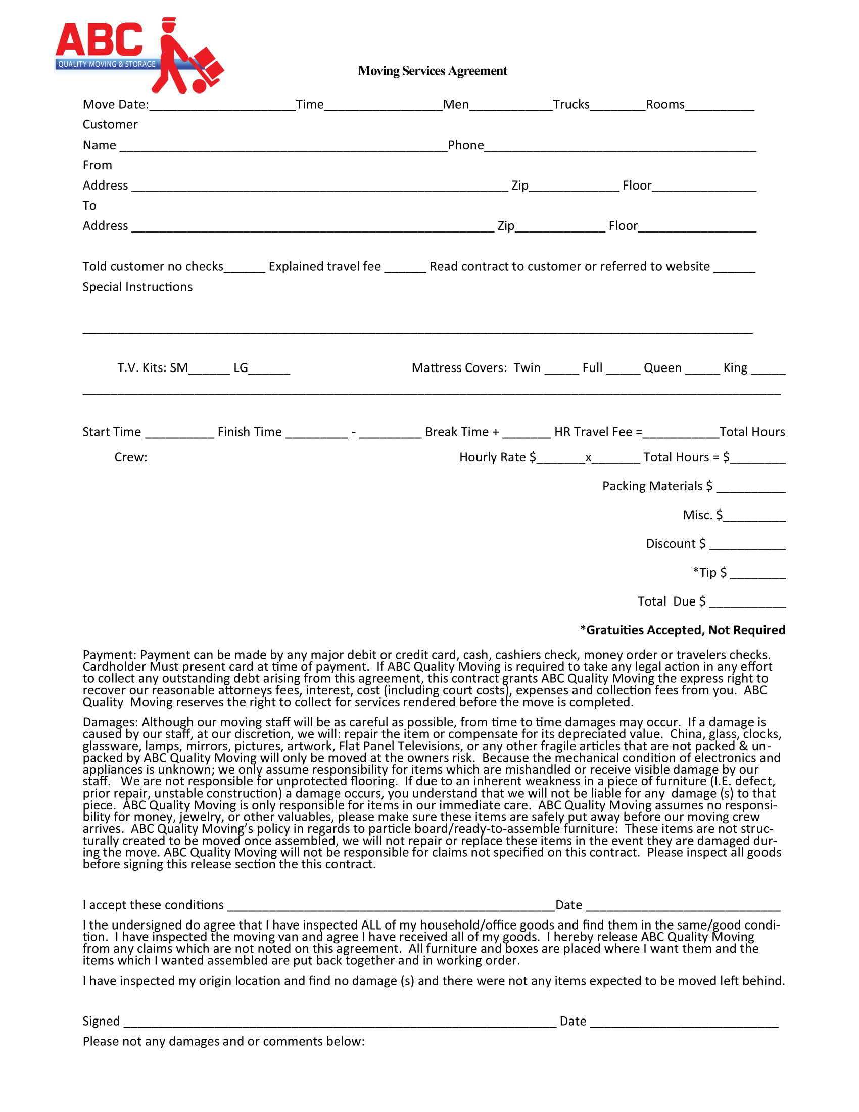 moving services agreement from a moving company example 1