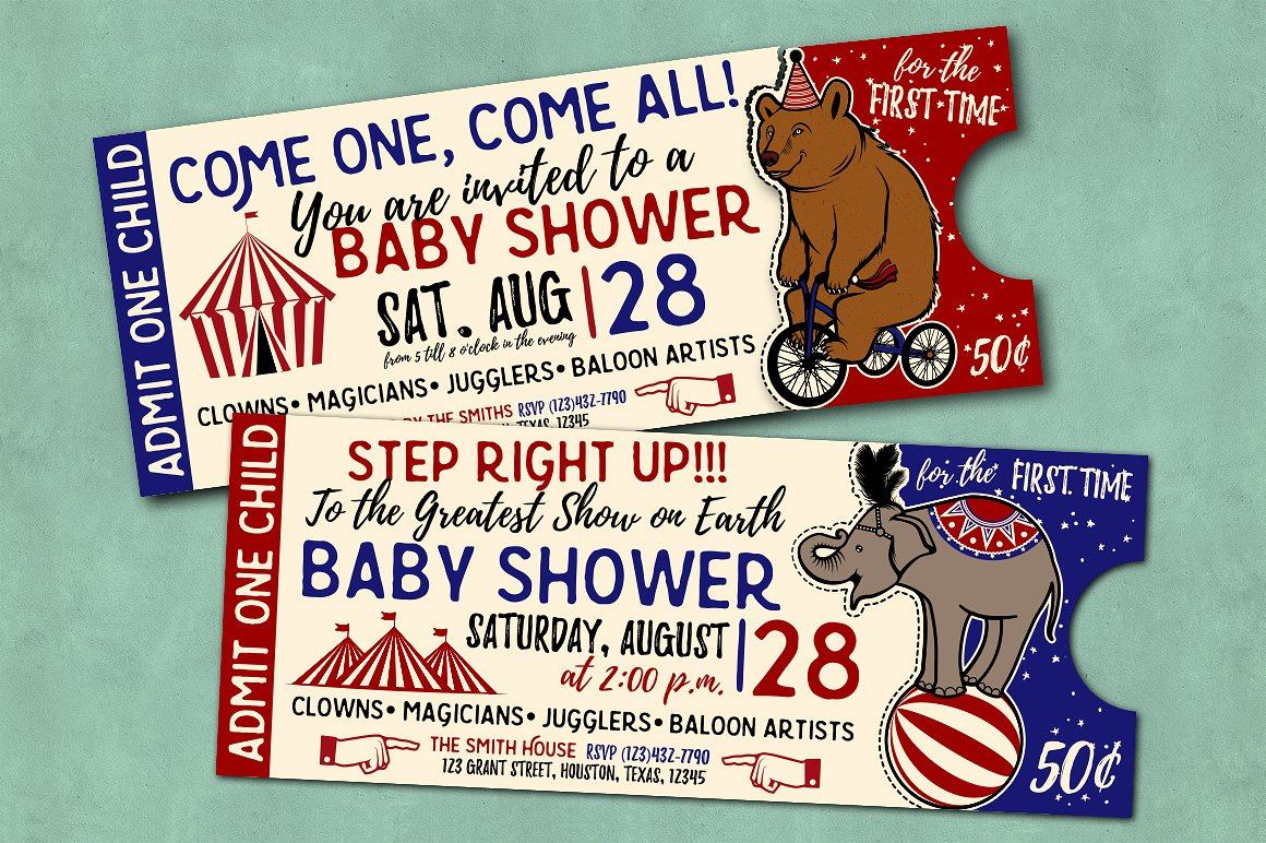 multipurpose retro carnival party ticket example