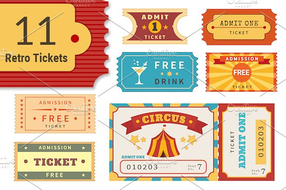 multipurpose retro circus party ticket example