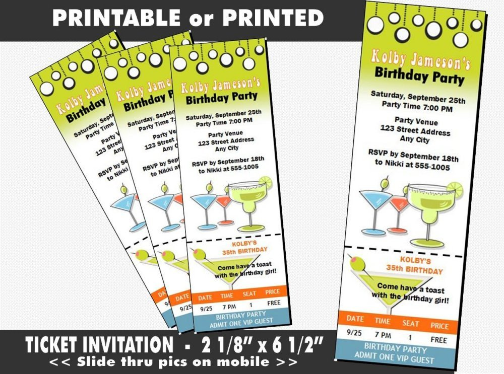 multipurpose retro cocktail party ticket example