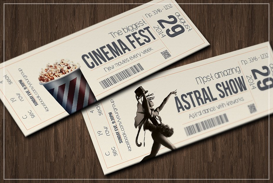 multipurpose retro movie party ticket example