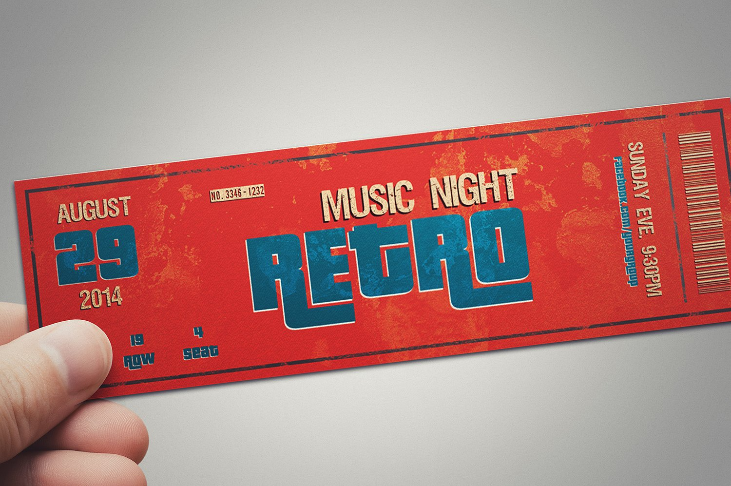 multipurpose retro music party ticket example