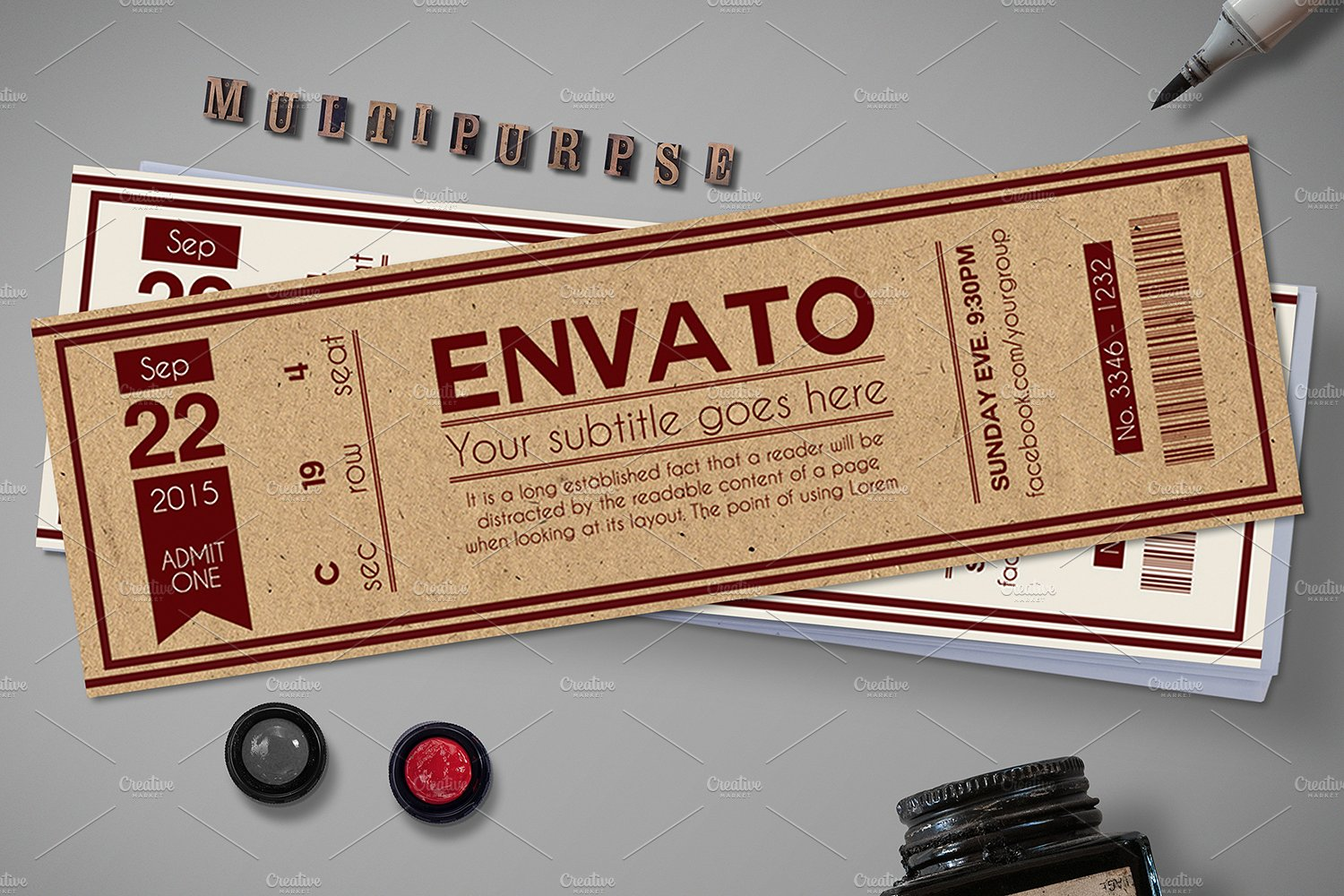 multipurpose retro party ticket example