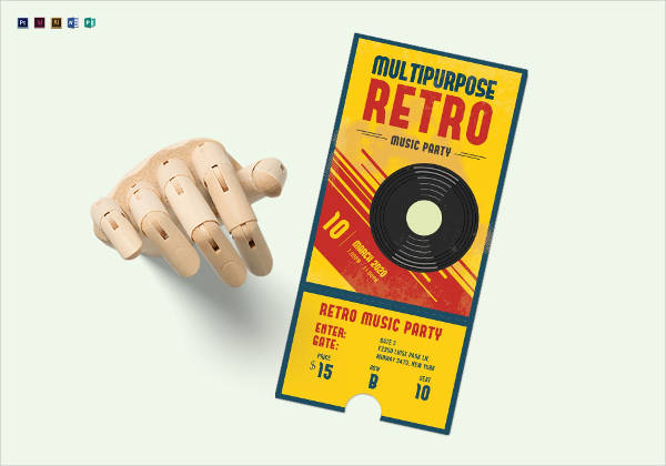 multipurpose retro party ticket template
