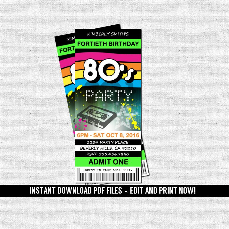 multipurpose retro skate dance party ticket example