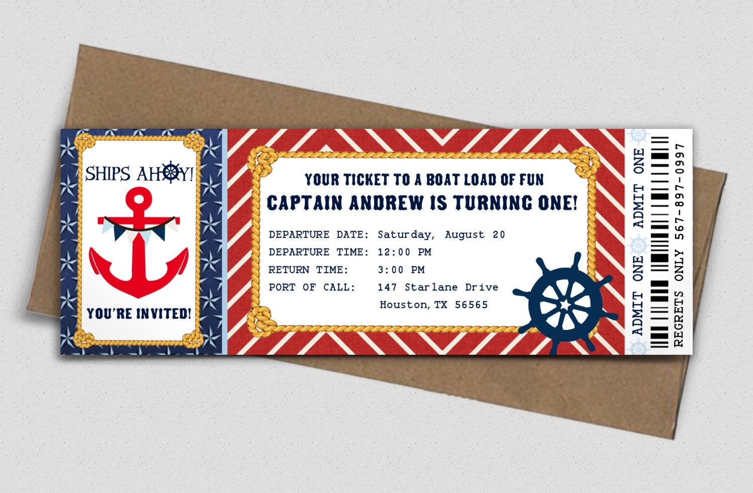 nautical birthday boarding pass invitation ticket example