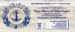 navy wedding boarding pass ticket invitation