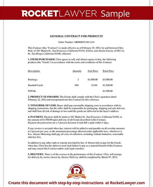 new product general contract template example1